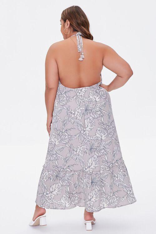 TAUPE/CREAM Plus Size Tropical Print Maxi Dress, image 3