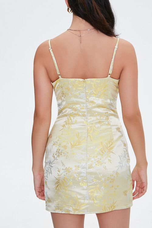 YELLOW Embroidered Satin Cami Dress, image 3