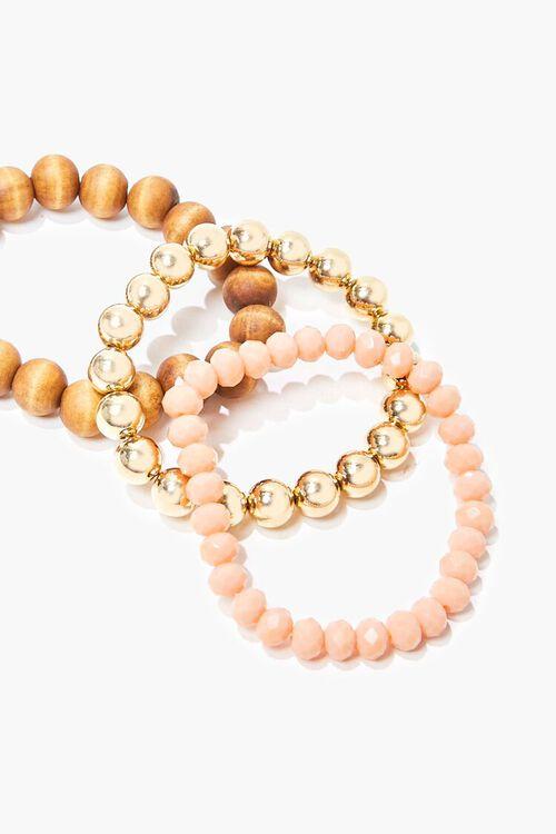 BROWN/GOLD Beaded Stretch Bracelet Set, image 1