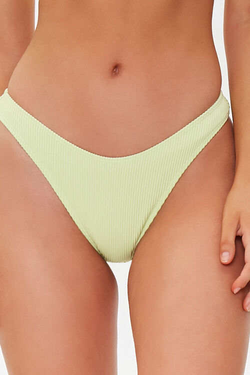 Ribbed High-Leg Bikini Bottoms, image 2