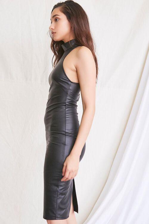 BLACK Faux Leather Slit Dress, image 2