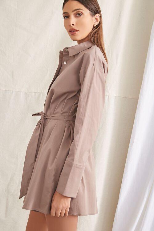 TAUPE Belted Mini Shirt Dress, image 2