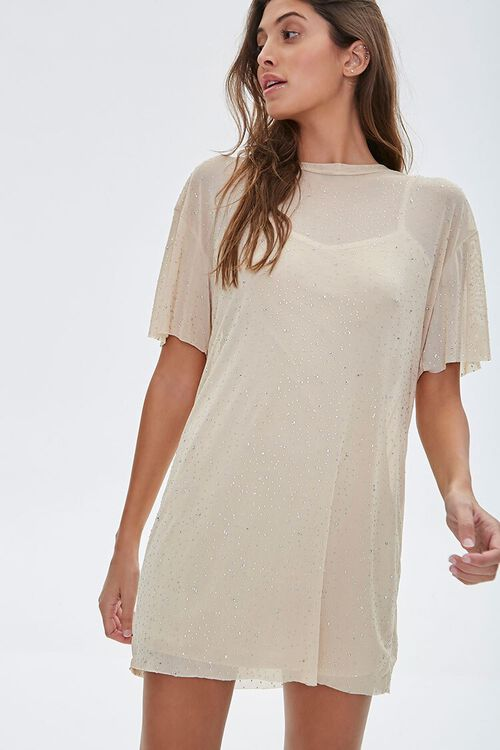 Metallic Pin Dot T-Shirt Dress, image 1