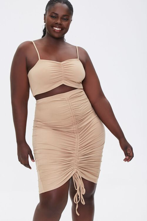 Plus Size Ruched Cami & Skirt Set, image 5