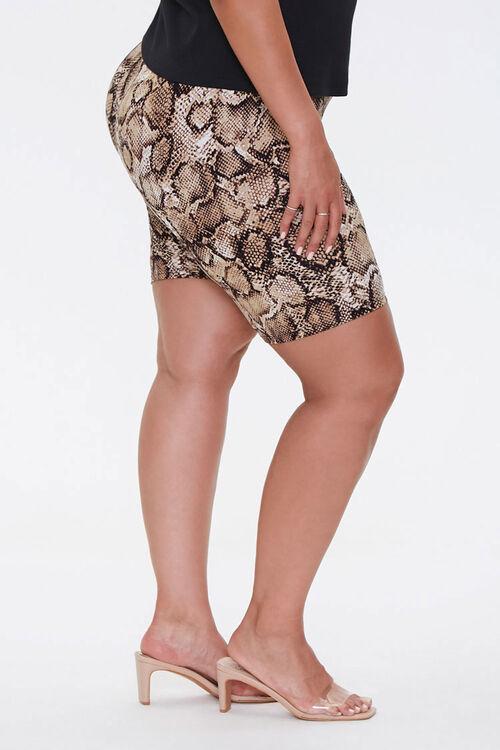 TAN/BLACK Plus Size Snake Biker Shorts, image 3
