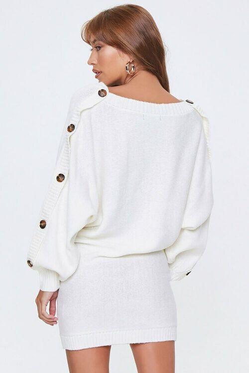 IVORY Button-Trim Sweater Dress, image 2