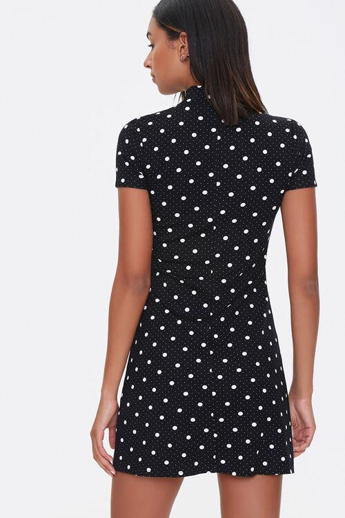 BLACK/CREAM Polka Dot Mock Neck Dress, image 3