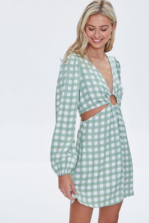 Gingham Cutout Mini Dress, image 1