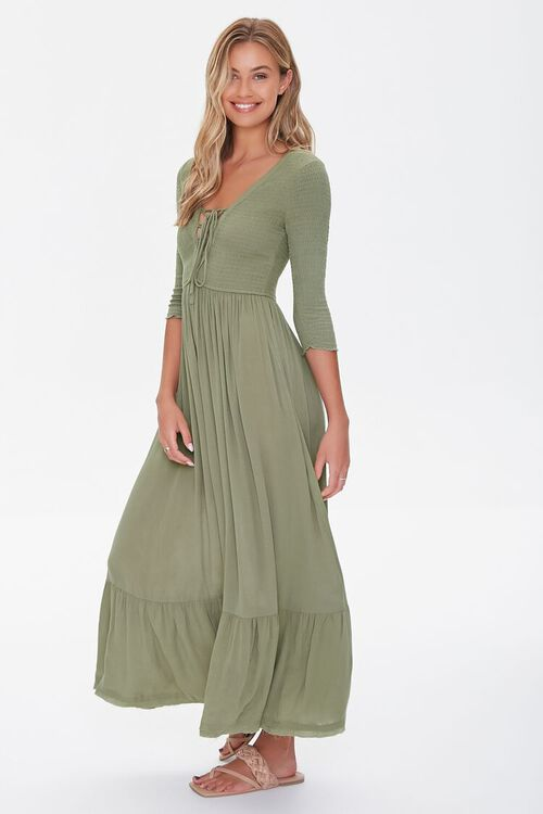 Plunging Lace-Up Maxi Dress, image 2