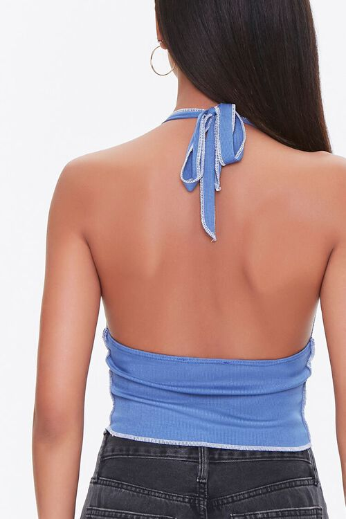Topstitched Bow Halter Top, image 3