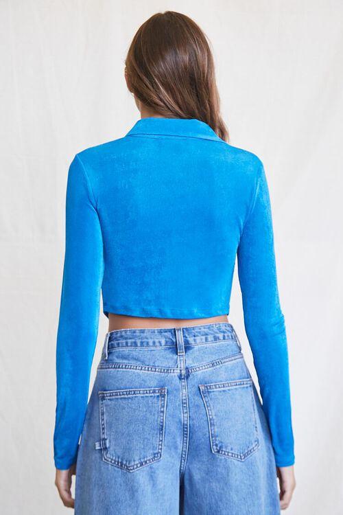 BLUE Cropped Knit Shirt, image 3