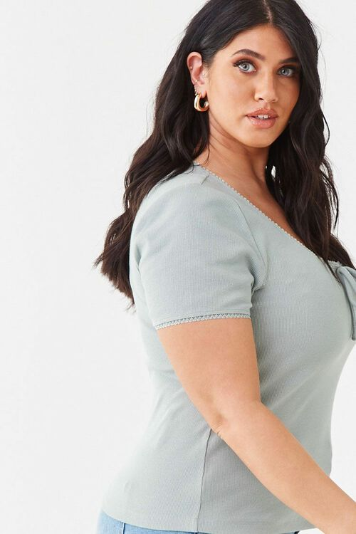 Plus Size Ribbed Scoop Neck Top, image 2