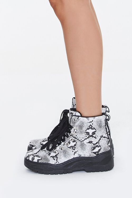 Faux Snakeskin Combat Boots, image 2