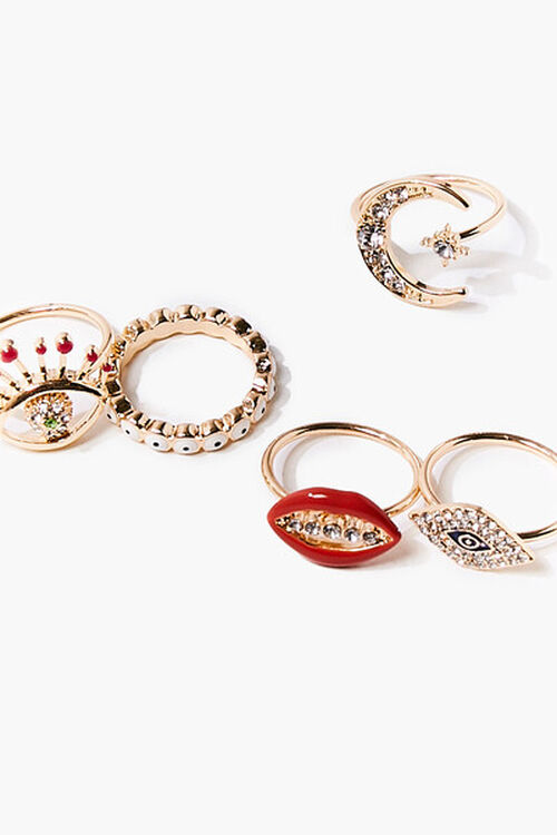 GOLD Eye Charm Ring Set, image 2