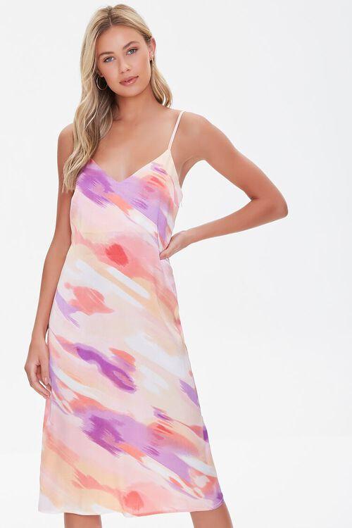 Satin Abstract Wash Slip Dress, image 1