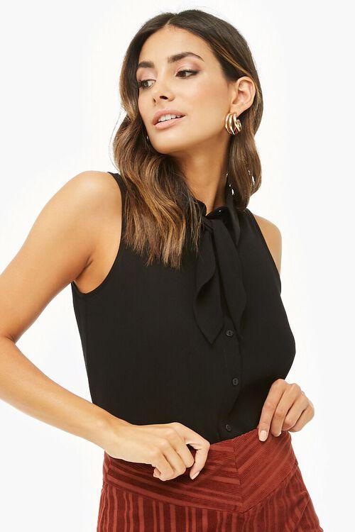 Sleeveless Tie-Neck Shirt, image 1