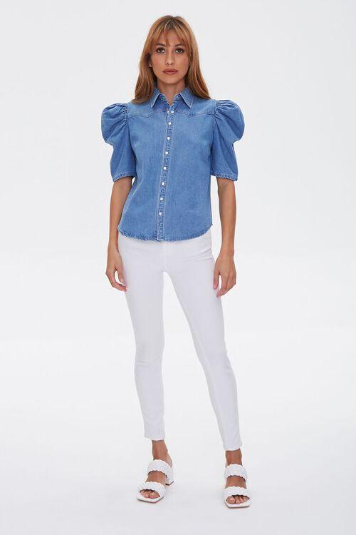 Puff-Sleeve Denim Shirt, image 4
