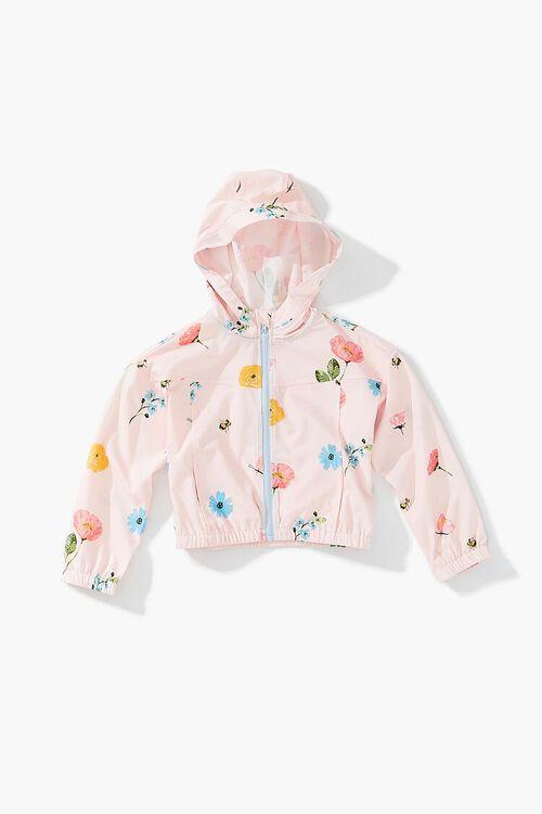 PINK/MULTI Girls Floral Zip-Up Windbreaker (Kids), image 1
