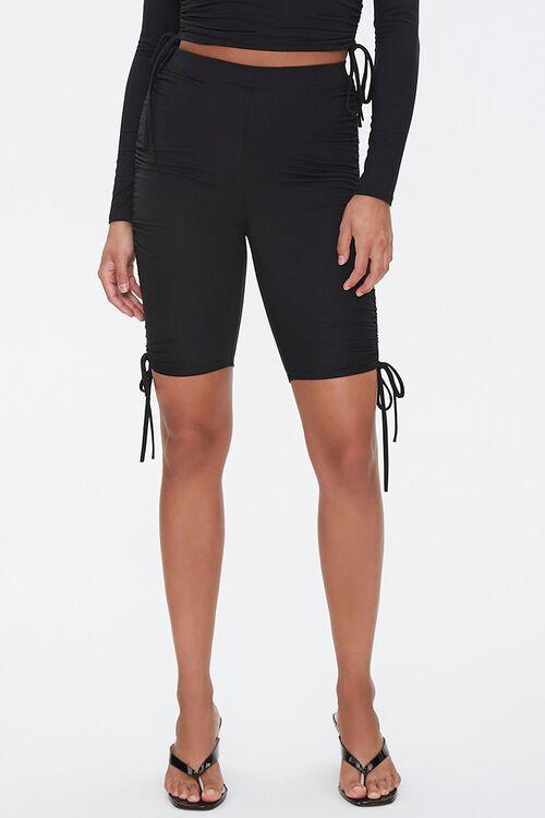 BLACK Drawstring Top & Biker Shorts Set, image 6