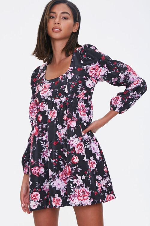 BLACK/PINK Floral Print Mini Dress, image 1