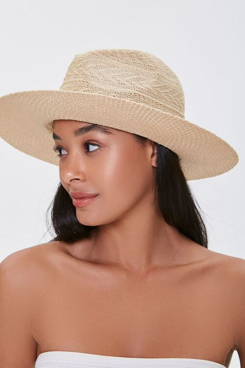 Faux Leather-Trim Basketwoven Fedora, image 2