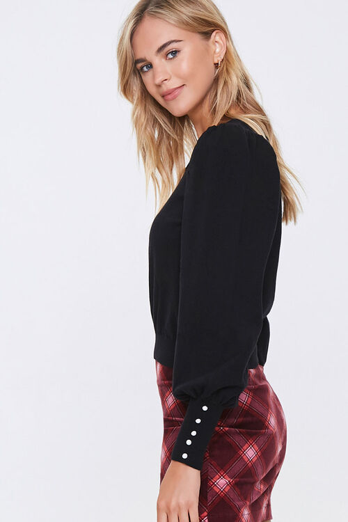 Sweater-Knit Faux Pearl Top, image 2