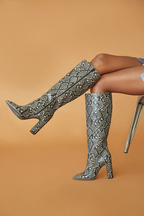 Faux Snakeskin Knee-High Boots, image 1