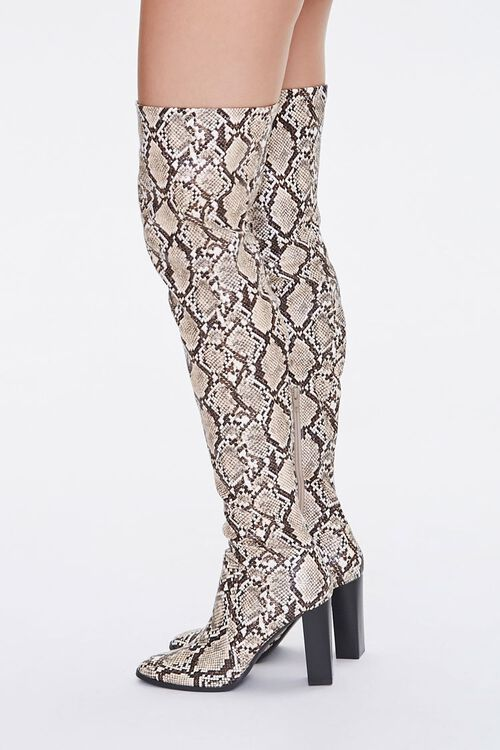 Faux Snakeskin Over-the-Knee Boots, image 2