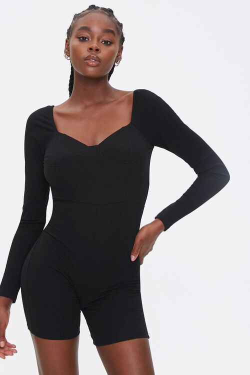 Ribbed Bustier Romper, image 1