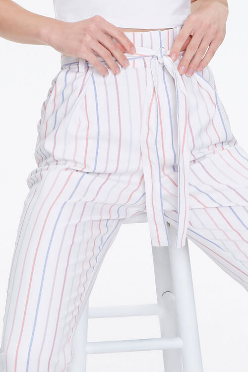 Cuffed Striped Paperbag Pants, image 6