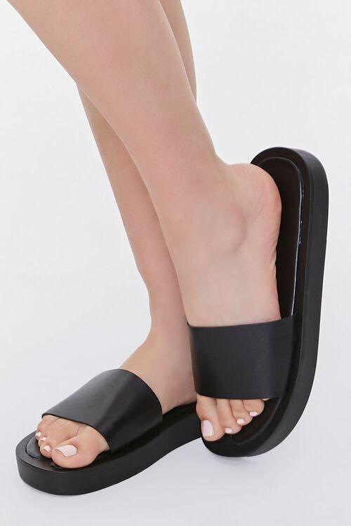 Faux Leather Flatform Sandals, image 1