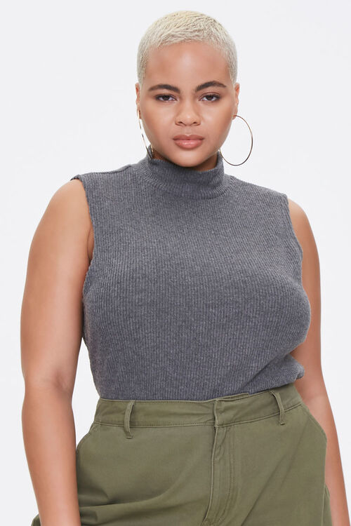 Plus Size Mock Neck Crop Top, image 1