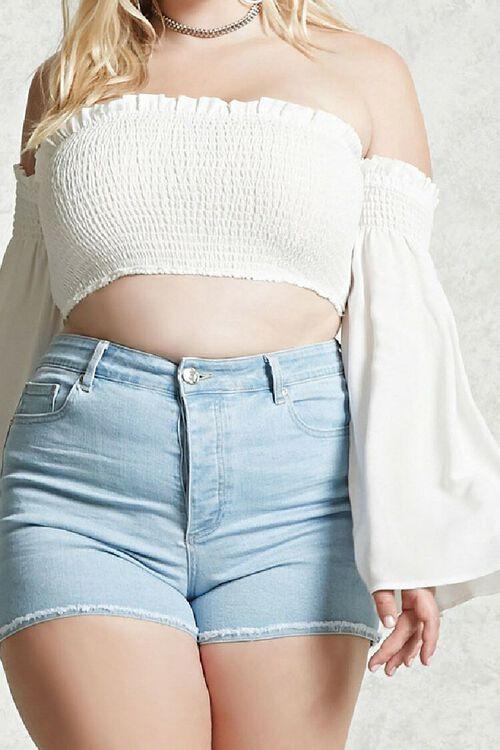 LIGHT DENIM Plus Size Frayed Denim Shorts, image 1