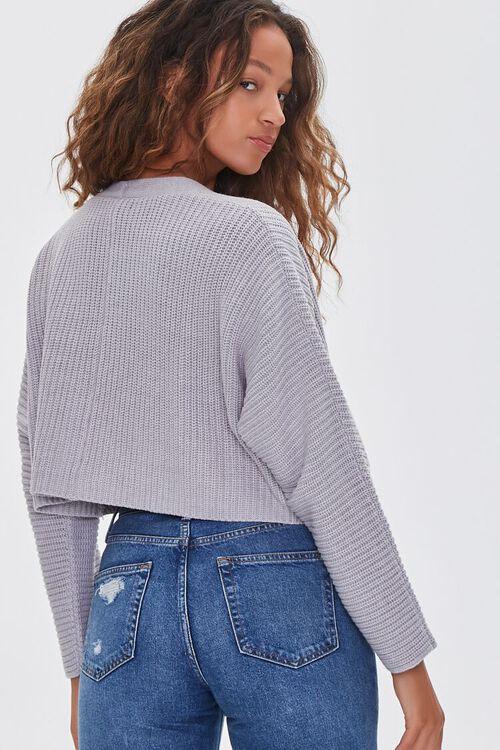 HEATHER GREY Ribbed Cropped Cardigan Sweater, image 3