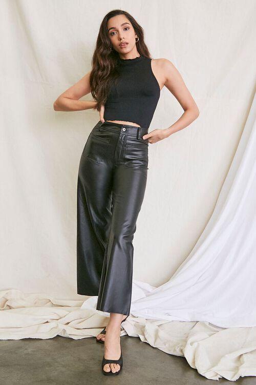 BLACK Faux Leather Wide-Leg Pants, image 1