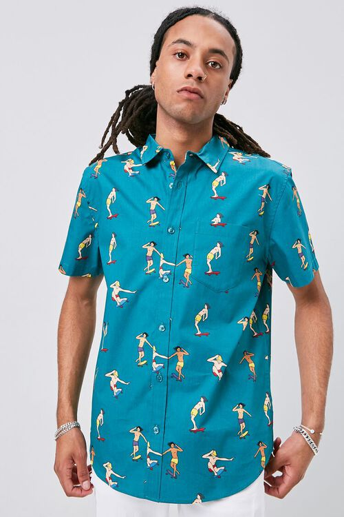 Skateboard Print Fitted Shirt, image 1