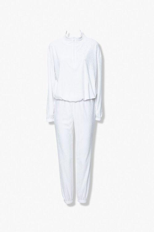 WHITE Terry Cloth Jacket & Sweatpants Set, image 1