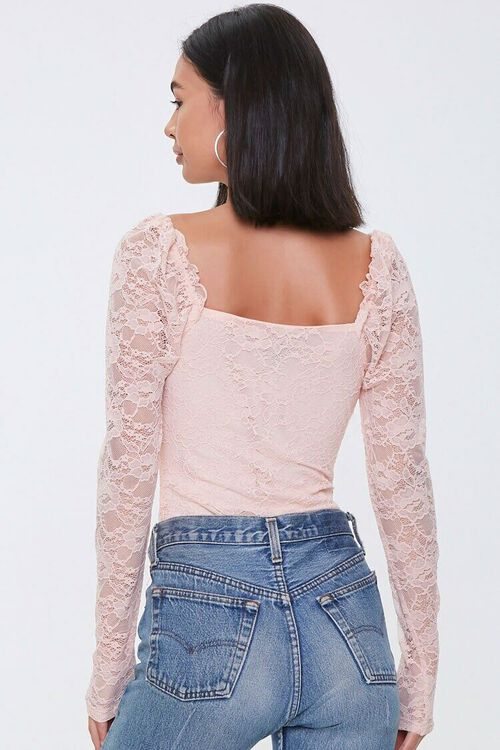 Ruched Floral Lace Bodysuit, image 3