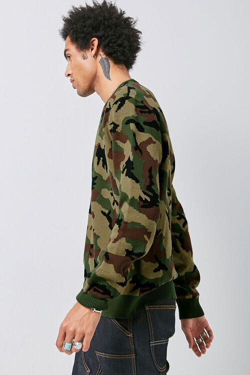 Crew Neck Camo Knit Sweater, image 2