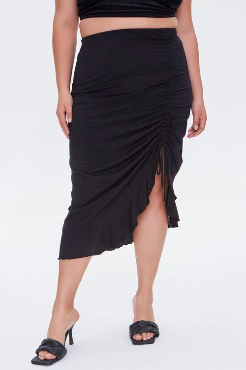 Plus Size Ruched Drawstring Midi Skirt, image 2