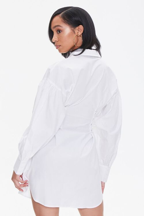 Poplin Lace-Up Shirt Dress, image 3