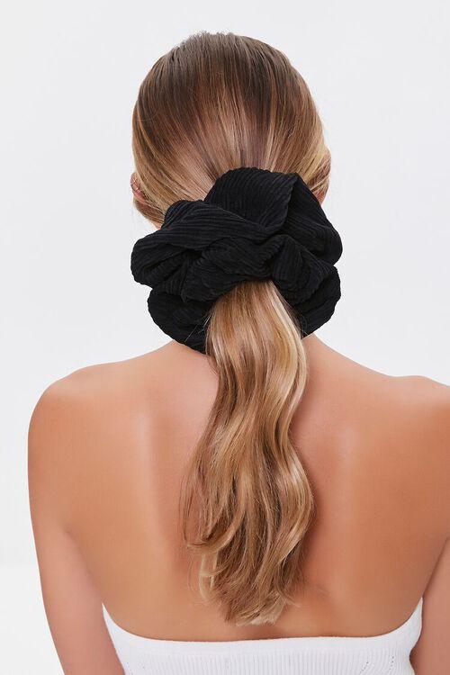 BLACK Oversized Ribbed Scrunchie, image 1
