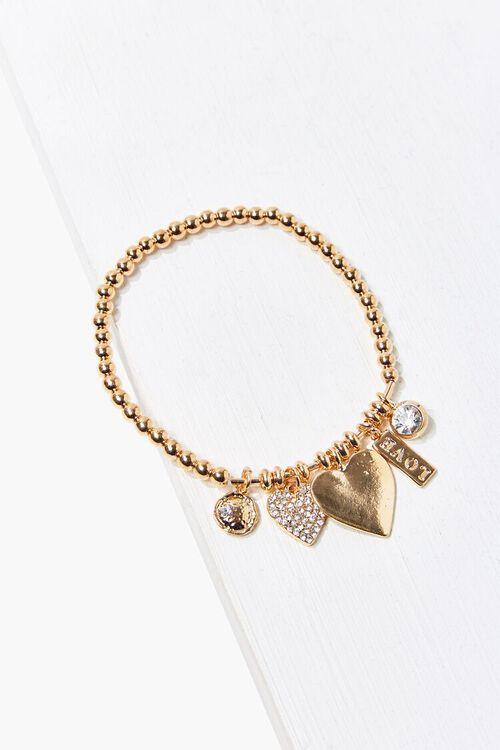 Beaded Heart Charm Bracelet, image 1