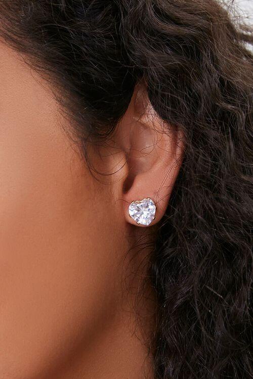 Faux Gem Heart Stud Earrings, image 1