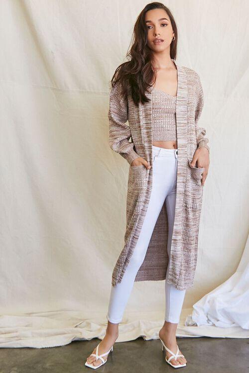 TAUPE/MULTI Longline Cardigan Sweater, image 4