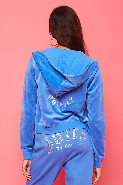 BLUE/SILVER Juicy Couture Velour Zip-Up Jacket, image 4