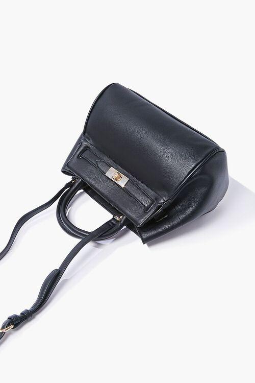 BLACK Faux Leather Pouch Satchel, image 4