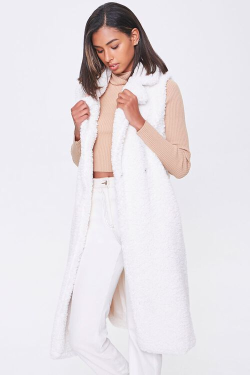 Faux Shearling Duster Vest, image 1