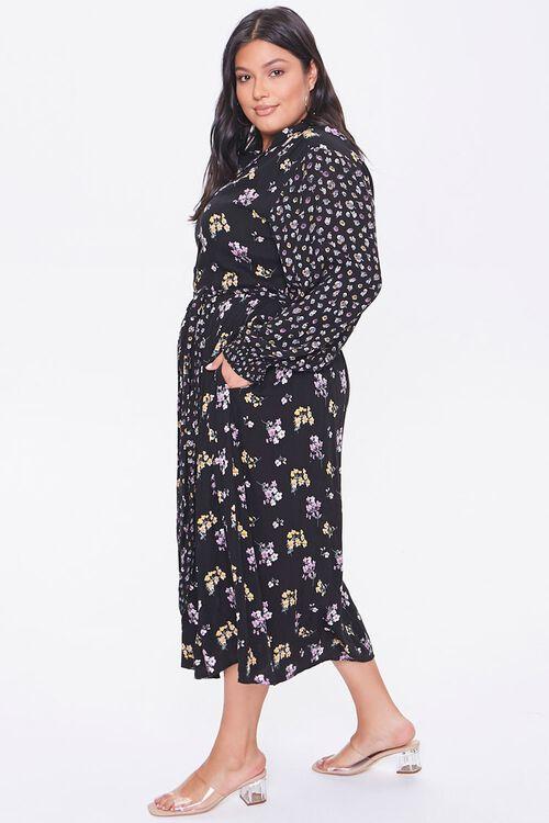 Plus Size Floral Print Buttoned Dress, image 2