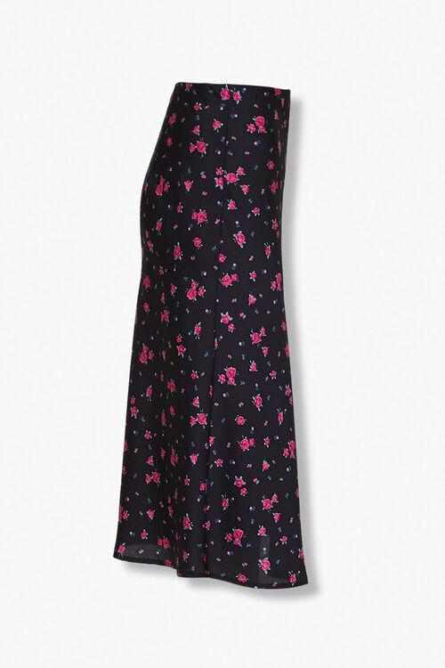 BLACK/MULTI Rose Floral Print Skirt, image 2